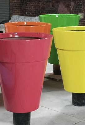 Tuscan Cone Planters - Two-Pack Painted Fibreglass